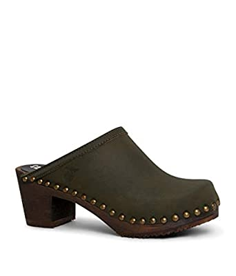 Sandgrens Swedish High Heel Wooden Clog Mules for Women   Rome