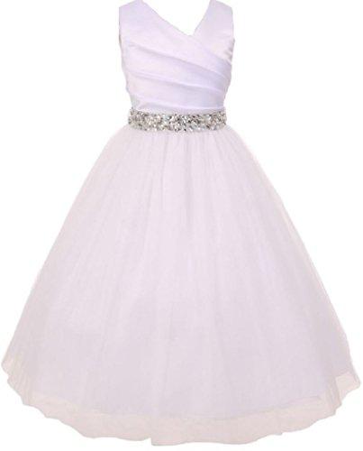 Little Girls White Rhinestone Belt Communion Flowers Girls Dresses Silver 6 -