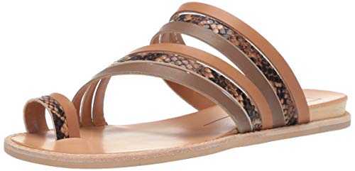 Dolce Vita Women's Nelly Flat Sandal, tan Multi Leather, 13 M US