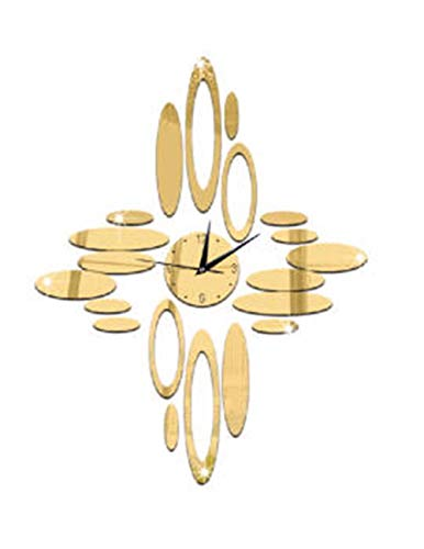 Stylish, Silent Wall Clock Home,Kitchen,Office,Living Room,School Clock, Easy to ReadNew House Decoration Wall Clock, Green Crystal Decorative Clock, Oval Ring Mirror Quartz Clock, a