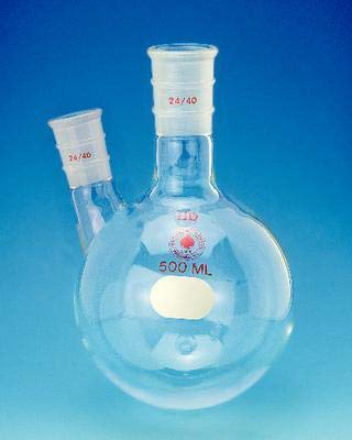 Heavy Wall 24//40 Side Joint 2L Capacity ACE Glass 6927-244 Two Angled Side Neck Boiling Flask Round Bottom 24//40 Center Joint