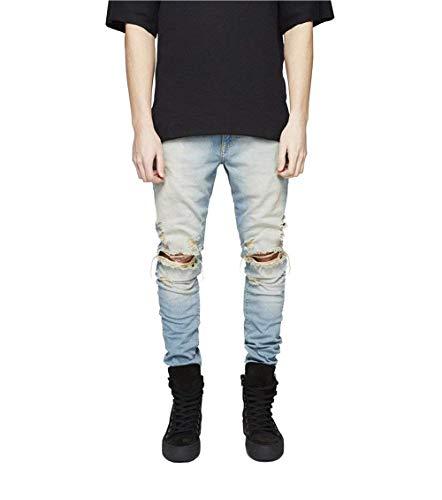 Casual Uomo E Da Vintage Slim Pantaloni Jeans Blau Denim Fit Giovane Slavati Strappati In df0SUq