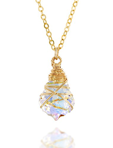Hand Wrapped Pendant Made with Original Swarovski AB Crystal 14k Gold Filled Necklace, 18