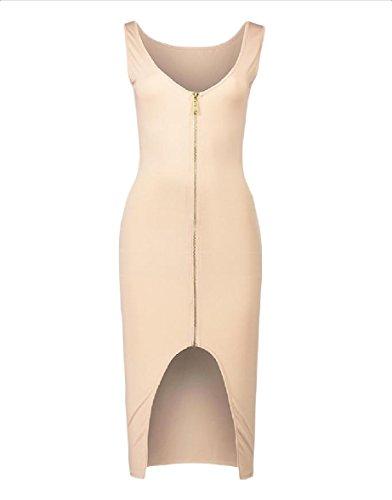 Coolred-femmes Divisées Taille Plus Couleur Pure Curvy Sexy Partie Abricot Robe Moulante