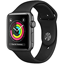 Apple Watch Series 3 (GPS, 42MM) - Space Gray Aluminum Case with Black Sport Band (Renewed)