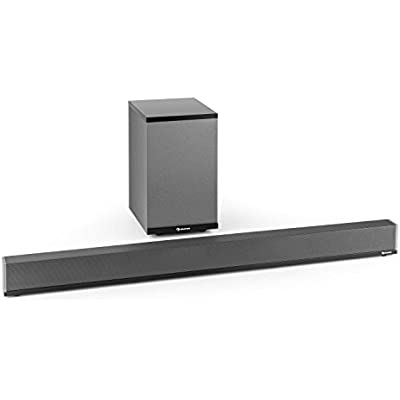 Auna Areal Bar 950 Sound Bar Subwoofer 140W RMS Bandpass Subwoofer with 30W RMS Built-In Digital Amplifier Bluetooth USB MP3 AUX Opt  Digital Input Wall Mounting Points Grey
