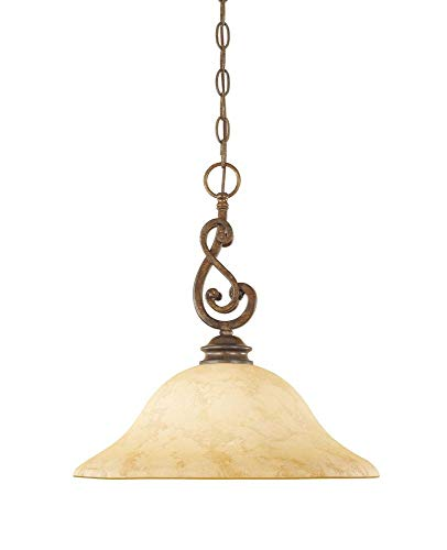 Designers Fountain 81832-FSN 1-Light Down Pendant, Forged Sienna Finish with Warm Amber Glaze Glass