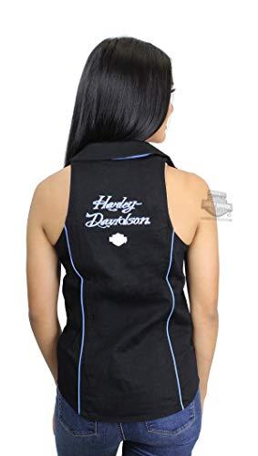 Harley-Davidson Womens Contrast Piping B&S Black Sleeveless Woven Shirt 96216-18VW (X-Large) (Harley Davidson Womens Sleeveless)