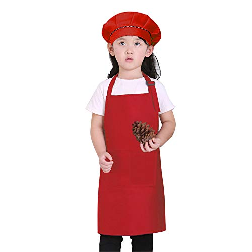 Homsolver ObviousChef Kids -Baby Chef Hat Apron Set, Baby Size, Children's Kitchen Cooking and Baking Wear Kit for Those Chefs in Training (Red, 7-13 Years Old)