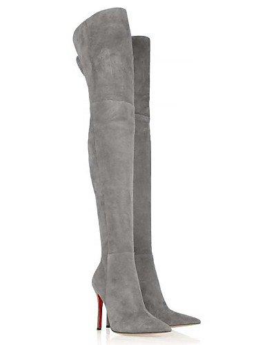 Cn44 Botas Boda Zapatos Noche De Xzz A Gray Puntiagudos Mujer Tacón Stiletto Eu43 Vellón Fiesta us11 Y Uk9 La Gris Vestido Moda vq1Y1wx