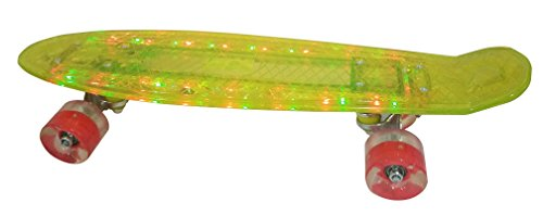 Light Up Glow In The Dark LED 22 Inch Skateboard with Light Up Wheels - Yellow