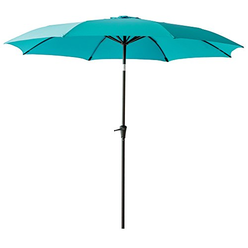 C-Hopetree 10' Patio Outdoor Market Umbrella with Crank Winder, Fiberglass Rib Tips, Push Button Tilt, Aqua Blue
