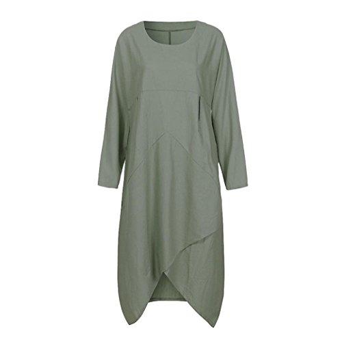 XILALU Plus Size Irregular Baggy Dress,Loose Solid Plain Round Neck Long Sleeve Tunic Casual Beach Long Dress for (Long Sleeve Boatneck Tunic)