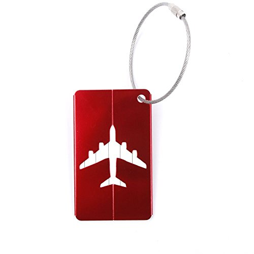 WSERE 5 Pack Aluminum Luggage Tags Airplane Shape Identifier Label ID Address Holder Cover Baggage Tag with Wire Rope Chain(Red)