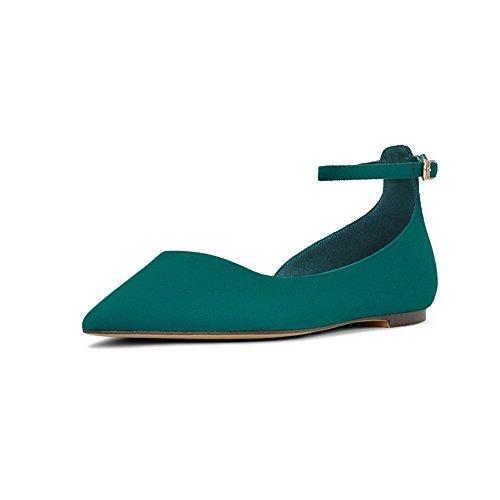 YQQ Zapatos Planos Tacones Bajos Zapatos Individuales Sandalias De Verano Dama Chica Joven Zapatos De Mujer Acogedor Moda Hebilla (Color : Negro, Tamaño : EU38/UK5.5) Verde