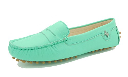 LL STUDIO Womens Casual Slip On Flats Light Blue Seude/Leather Driving Walking Moccasins Loafers Boat Shoes 8.5 M US -  LL STUDIO-YIBU9603-Light Blue Leather40