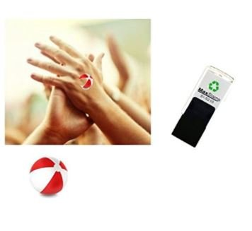 Beach Ball - Red ink - Hand stamp - suitable for Festivals - Night Clubs - Parties etc self inking 18mm circ 5210