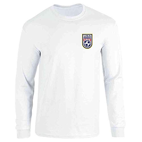 (USA Soccer Retro National Team Jersey White L Long Sleeve T-Shirt)