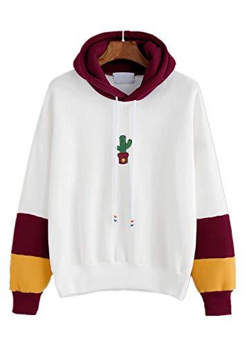 FONMA Womens Long Sleeve Tops Cactus Print Hoodie Sweatshirt Hooded Pullover Blouse Wine (Weed Pyjamas)