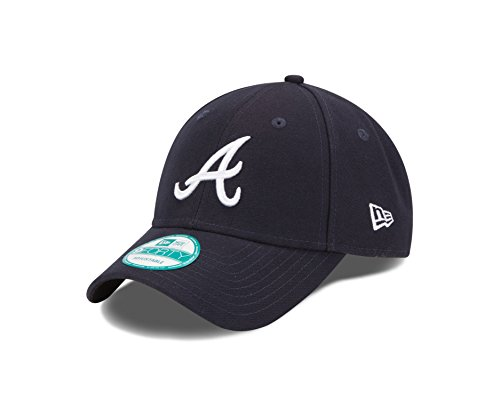 MLB Atlanta Braves Road The League 9FORTY Adjustable Cap, One Size, Navy (New Era Atlanta Braves)