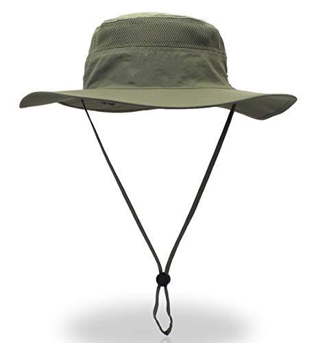 Home Prefer Men's Sun Hat UPF 50+ Wide Brim Bucket Hat Windproof Fishing Hats (Light Army Green)