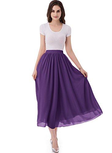 emondora Women's Chiffon Long A-Line Retro Skirts Pleated Beach Maxi Skirt Dark Purple Size M