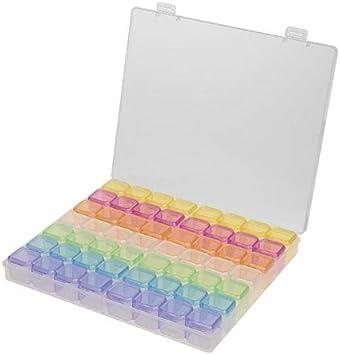 Scole 56 cuadrículas 5D DIY pintura diamante caja joyero joyero bordado de cuentas de cristal organizador caja de almacenamiento contenedor: Amazon.es: Belleza