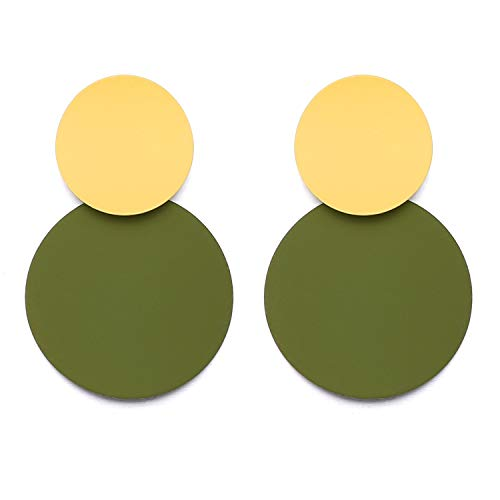 LILIE&WHITE Round Curved Dangle Earrings With Matte Paint Discs For Women Jewelry Green
