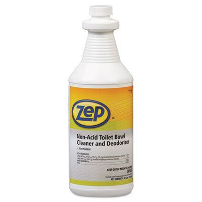 Zep Professional R00301 Non-Acid Deodorizing Toilet Bowl Cleaner, Mild/Pleasant Fragrance, Clear/Blue Green (Case of 12 Quarts) by Zep Professional