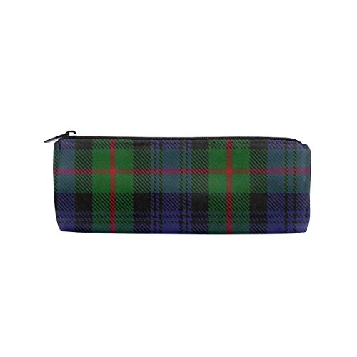 Lcokin Customize Green and Blue Striped Plaid Shirt Cylindrical Pencil Bag, Pencil Box Zipper Stationery Bag, Wash Bag