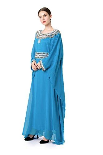 Jalabiya Baya dress Embroidery Clothing Islamic abaya LF long Women Blue muslim 16 dubai raqaIRw