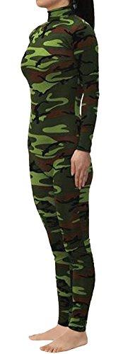Seeksmile Unisex Classic Lycra Spandex Dancewear Catsuit (Small, Camo Green)