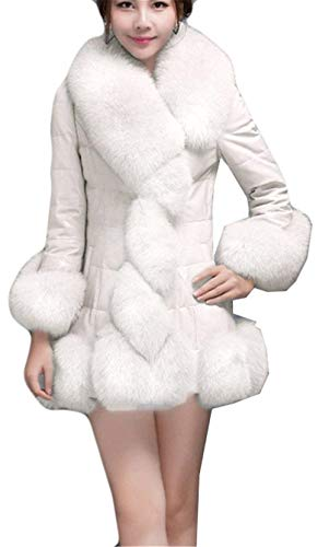 Fashion Slim Espesar Mujer Splice Abrigo Elegantes Piel Invierno Termica Larga Parkas Cuero Chaqueta Outwear Blanco Manga Retro De Fit Sintética vB6EqCwx