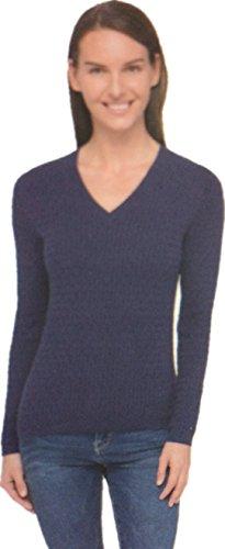Tommy Hilfiger Womens V-Neck Sweater (Navy, - Women Tommy