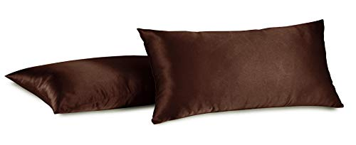 Aiking Home 100% Polyester Bridal Satin Luxury Pillowcases - Set of 2 Invisible Zipper Pillowcases - Machine Washable - (Standard 20x26 inch, Brown)