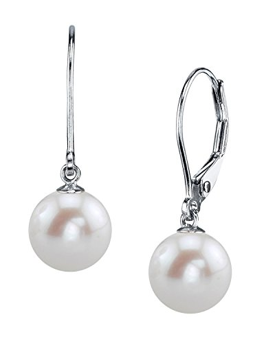 THE PEARL SOURCE 14K Gold 10-11mm AAAA Quality Round White Freshwater Cultured Pearl Leverback Earrings for Women