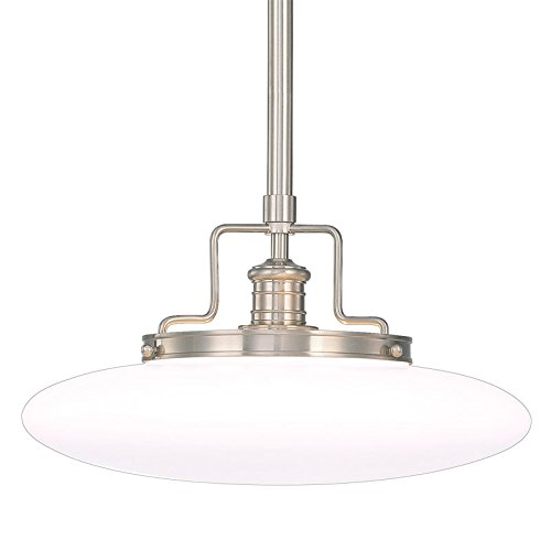 Beacon 1-Light Pendant - Satin Nickel Finish with Opal Mouth-Blown Glossy Glass ()