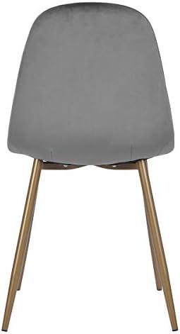 MEUBLE COSY Lot de 2 Fauteuil Chaise de Salle à Manger de Style Velours Gris Chaise de Bureau Ergonomique Pieds Métal avec Finition Or Fauteuil, Gris /42,5x54,5x86cm