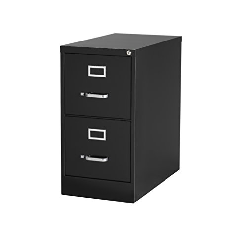 Office Dimensions Commercial 2 Drawer Letter Width Vertical File, 25-Inch Deep, Black