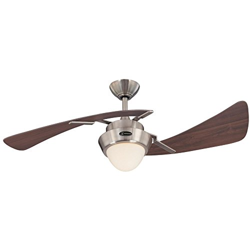 Westinghouse Lighting 7214100 Harmony 48-Inch Brushed Nickel Indoor Ceiling Fan, Light Kit with Opal Frosted Glass ()