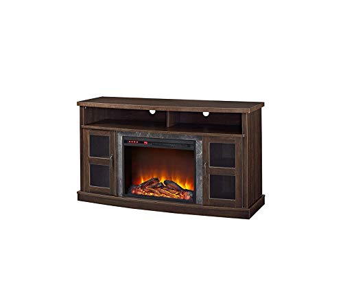 Wood & Style Barrow Creek Fireplace Console with Glass Doors for TVs up to 60in Espresso Decor Comfy Living Furniture Deluxe Premium Collection