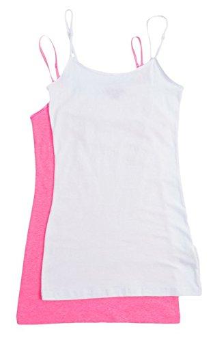 2 Pack Zenana Women's Basic Tank Tops Med White, N Pink