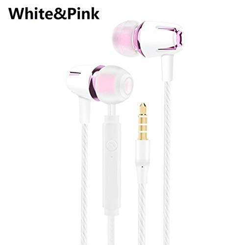 Zinniaya Wired Earphone Electroplating Bass Stereo In-Ear Headphone with Mic Hansfree Call Phone Earphone for Android…