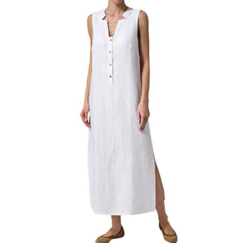 (Women Summer Sleeveless Button Sundress Casual Linen Tunic Split Beach Long Maxi Dress a-line Dress Plus Size White)
