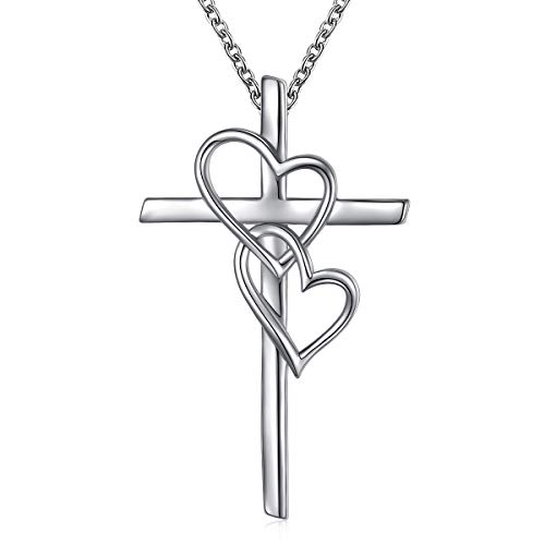 S925 Sterling Silver Infinity Double Love Heart Holy Cross Pendant Necklace with Rolo Chain 18 inches