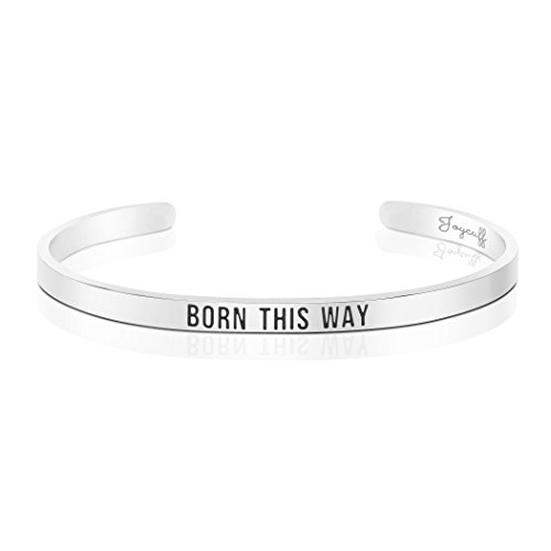 Joycuff Personalized Mantra Born This Way Bracelet Women Stainless Steel Metal Cuff Bangle Jewelry Gift Under 20 Pride Month