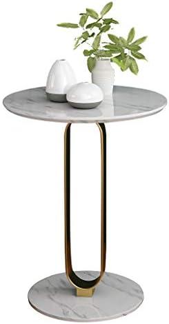 コーヒーテーブル シンプルな小さなコーヒーテーブル、白い自然な丸い大理石のトレイソファサイドテーブルモダンエンドテーブルリビングルームバー寝室に適して KWX-11