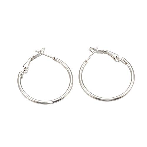PH PandaHall 20 Pairs 30mm Stainless Steel Hoop Earrings Round Tube Hoop Earrings Cute Huggie Earrings for Women Girls - Original Color