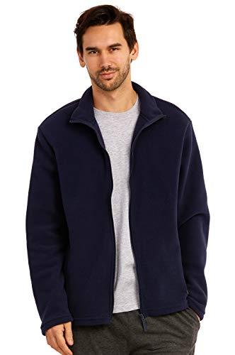 (ET TU Men's Zip Up Polar Fleece Jacket (L, Navy))