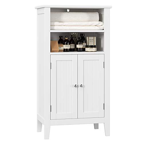 HOMFA Bathroom Floor Cabinet Wooden Storage Organizer with Double Doors Adjustable Shelf - Mirrored Double Cabinet Bathroom Door White